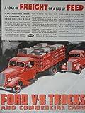 Ford V-8 Trucks,30's Color Illustration/Painting, Print Ad. 10 3/4'x13 1/2'(red trucks/M.L.Long motor fright line) Original Vintage, 1937 Collier's Magazine Print art ***store link [www.amazon.com/shops/ads-thru-time]
