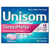 Unisom Quick Sleepmelts Night Time Sleep Aid, Cherry,24 Count (Pack of 4)