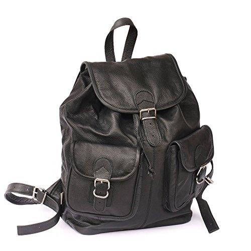 hamosons Großer Lederrucksack Größe L Laptop Rucksack bis 15,6 Zoll, für Damen und Herren, aus Nappa-Leder, Schwarz, 560