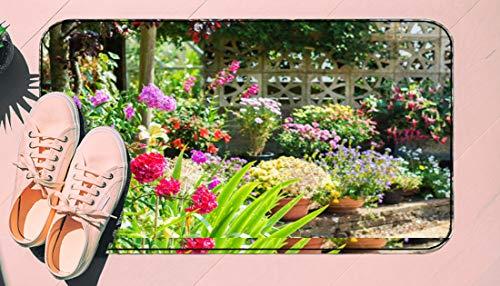 DIIRCYB Fu?Matte Indoor Outdoor rutschfeste waschbare Fu?Matte,Beautiful Backyard Floral Garden,DIY Cropping Teppich,F¨¹r Hauptk¨¹Che Schlafzimmer Badezimmerboden Carpet17.5' X 29.5'