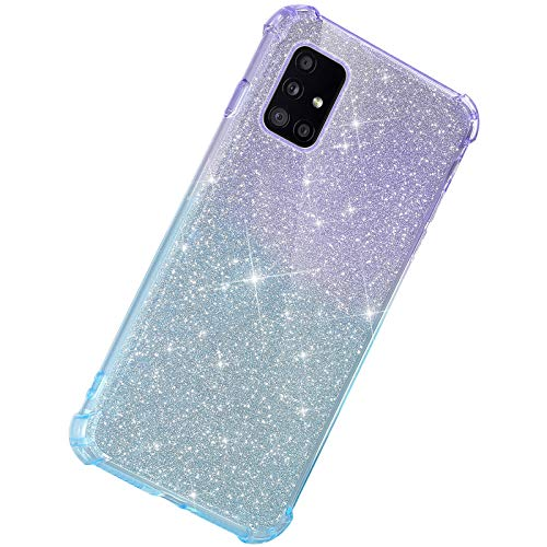 Herbests Kompatibel mit Samsung Galaxy A51 Hülle Durchsichtig Farbverlauf Glänzend Kristall Glitzer Transparent TPU Silikon Handyhülle Ultradünn Stoßfest Bumper Case Schutzhülle,Lila Blau