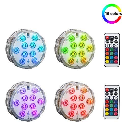 LED Pflanzenlicht | Batterie betrieben | Pflanzenbeleuchtung | Laternenlicht I inkl. Fernbedienung | RGB und Wasserdicht | 4er Set | Garten, Blumenbeet | Dekoration