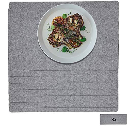 Uakeii 8er Platzset Abwaschbar aus Filz Tischset mit Platzmatten als Tischunterlage 30 x 45 cm, für drinnen und Draußen Tellerunterlagen für Zuhause Küche (Grau, 8er Platzset)