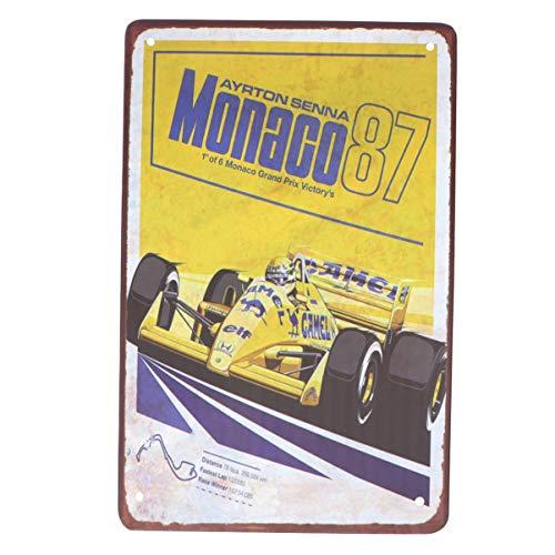 Wakauto 1 Unids Metal Letreros de Pared Racing Metal Place Restaurante de Mónaco Ayrton Senna Fórmula Racing Pub 1987 Placa de Hierro Pad Decoración Placa de Pieza de Metal