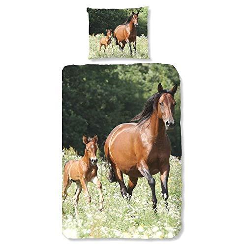 Aminata Kids Pferde Bettwäsche Mädchen 135x200 Kinder Pferde-Motiv Pferd Baumwolle Reißverschluss, Kinder-Bettwäsche-Set - Pferdebettwäsche weich, braun,grün - Fohlen, Pony, Kinderbettwäsche