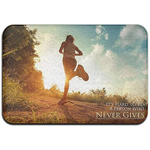Snbin Rutschfester Fleck verblassen beständiger Fußmattenlauf Niemals aufgeben Zimmerdecke für Fußmatten im Freien 40 * 60 cm