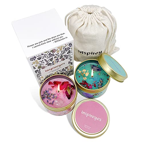 Inspireyes Scented Crystal Candles Gift Set with Amethyst, Rose Quartz & Dry Flowers, Portable Travel Tin Soy Wax Decorative Home Aromatherapy Gift for Women, 6.4 Oz