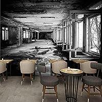 ヴィンテージ壁紙モダンパーソナリティファクトリー黒と白の落書き壁画壁画3Dレストランカフェ壁画-200x140cm