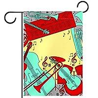ホームガーデンフラッグ両面春夏庭屋外装飾 28x40in,楽器ノート