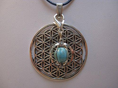 Natural mente – Pendentif Fleur de vie, la pierre + 1 Chakra, pendentif pour collier, amulette, fleur de vie, bande plastique incluse, pierres précieuses, n ° 112
