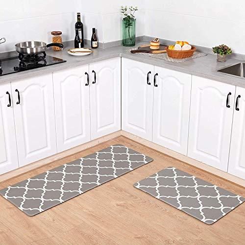 Carvapet 2 Pezzi Impermeabile Tappeti Cucina Antiscivolo Tappeti per Cucina PVC Wipe Clean Tappeto Cucina Tappeti Bagno Zerbino Passatoia (Marocco Grigio)
