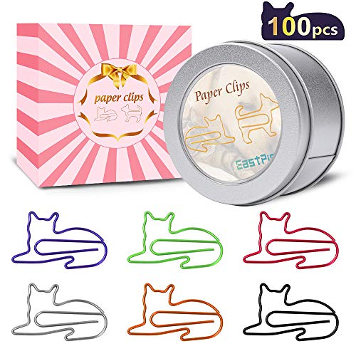 Cat Paper Clips - Cat Gifts for Cat Lovers - Great Birthday Gift for Teachers, Students, Kids, Coworkers - Cute Cat Office Supplies - Desk Accessories for Scrapbooks, Notebook (100Pcs)