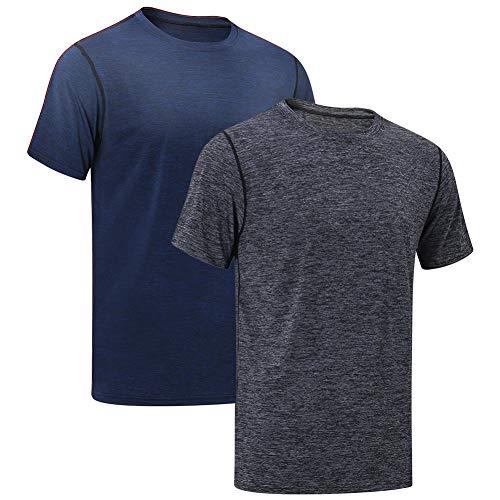 MEETYOO Sportshirt Herren, Laufshirt Kurzarm T Shirts Männer Fitnessshirt Atmungsaktiv Funktionsshirt für Running Jogging Fitness Gym (Schwarz+Blau, L)