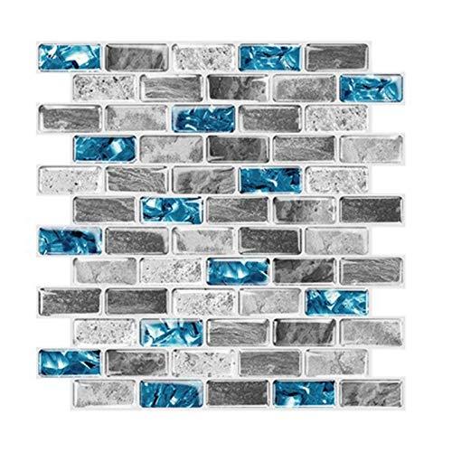 JVSISM Azulejos Vivos Azulejos Azules de Pelar y Pegar Azulejos 3D Efecto de Ladrillo Impermeable DecoracióN de Salpicadero de Cocina Papel Pintado Autoadhesivo