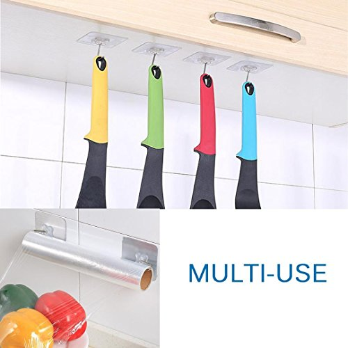 Reusable Adhesive Wall Hooks, 22 lbs/Heavy Duty Wall Hanger Stickers with Stainless Hooks- No Damage Wall Ceiling Decoration Hanging Coats Paintings Bags for Bathroom Kitchen Living Room (Clear, 8PCS)