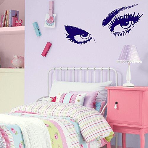 LaoGraphics - Adhesivos decorativos para pared, diseño de ojos para niños y niñas, diseño de texto en inglés 'Pretty Eyes Little Girls'