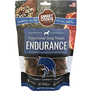 Smart Cookie All Natural Dog Treats – Available in 3 Flavors for Healthy Skin & Coat (Salmon), Endurance (Beef) or Hip & Joint Health (Chicken) – Crunchy, Human-Grade, Made in The USA – 8oz Bags