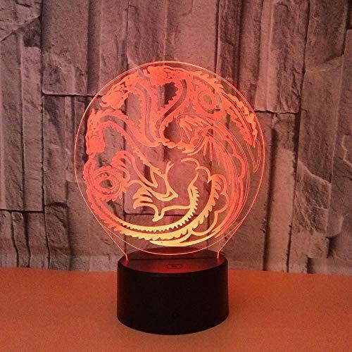 WULDOP 3D Led Luz De Noche Dragón tótem creatividad Lámpara De Luz 3D 7 Colores Cambian Con Control Remoto Ideas De Festivo Y Regalos Para Niños Niñas Y Adultos