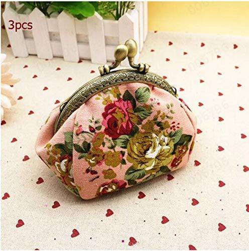 Mini monederos Mujer Dama Retro Vintage Flor Cartera pequeña Bolso de Mano Monedero pequeño monederos para Monedas-3 pcs Pink