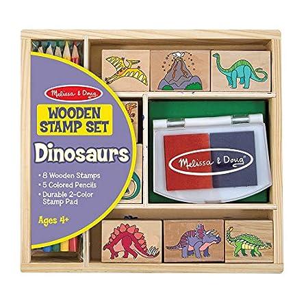 Melissa & Doug Holzstempel-Set Dinosaurier (14 Teile)