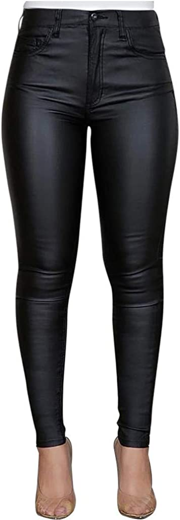 FUNEY Women's Faux Leather Leggings Pants PU Elastic Shaping Hip Push Up Sexy Stretchy High Waisted Tights Coated Pant