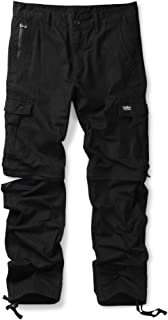 Mens Convertible Pants, Zip Off Casual Cotton Cargo Work Trousers