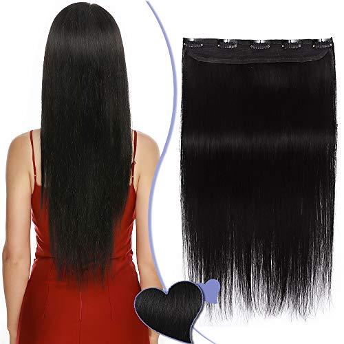 Elailite Extension Clip Capelli Veri Fascia Unica Ciocca Larga 22cm Lunga 40cm - 100% Remy Human Hair Extensions Singole Capelli Naturali Lisci 45g - #1 Jet Nero