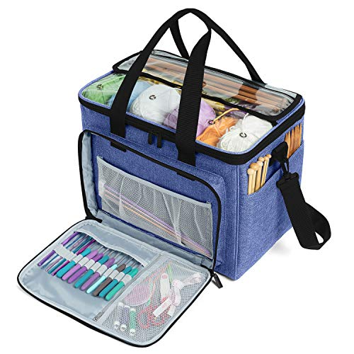 """Teamoy Knitting Bag, Yarn Tote Organizer with Inner Divider (Sewn to Bottom) for Crochet Hooks, Knitting Needles(Up to 14""""), Project and Supplies, Dark Blue -No Accessories Included"""