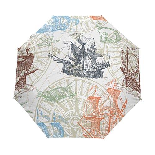 ALAZA Vintage Schiffs-Kompass Monster Reise Auto Open/Close Regenschirm mit Anti-UV-windundurchlässigen Leicht