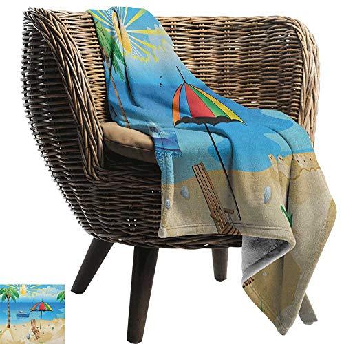 ZSUO Moeder deken Strand, Kleurrijke Cartoon Stijl Kust Patroon Boot Regenboog Paraplu Open Skyline Palm Boom Multi kleuren Gezellige en Duurzame Stof-Machine Wasbaar