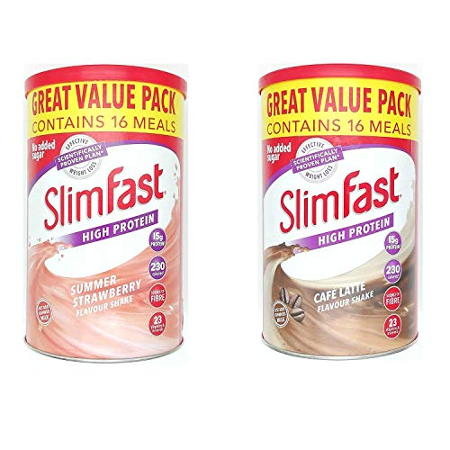 SlimFast KIT Made of High Protein Meal Replacements Shakes (Strawberry 584g, Cafe Late 584g), 2 Flavours in One Handy Kit