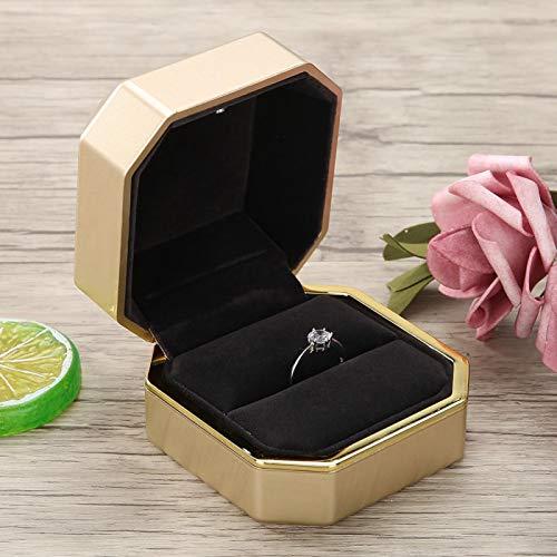 Hoseten Collar Colgante Caja LED, excelente Mano de Obra Caja de Anillo de Pintura Aspecto Exquisito para Boda para propuesta(Golden Ring Box)