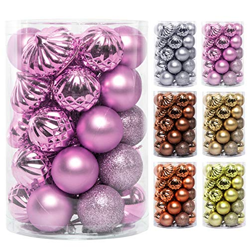 JEKOSEN 34PCS Christmas Ball Ornaments for Xmas Tree Decor 1.6' Shatterproof Christmas Tree Decorations with Hanging Rope Pink