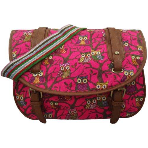 UKFS Hootie Eule Schulranzen/Eule auf Baum-Druck Damen-Mädchen-Leinwand Medium Größe Bote Tasche/Umhängetasche (Heiß Rosa)