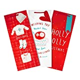 Christmas Bottle Bag Pack from Hallmark - 3 Bags in 3 Designs - Red and White