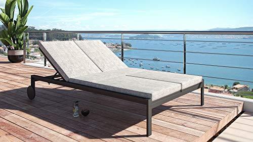 ARTELIA Maria Modern Line Aluminium Gartenliege Doppelliege - Sonnenliege für Garten, Terrasse und Balkon, Relaxliege Anthrazit