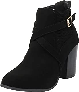 Cambridge Select Women's Laser Cutout Strappy Crisscross Chunky High Heel Ankle Bootie