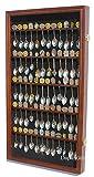 60 Souvenir Spoon Tea Spoon Display Case Rack Holder Wall Cabinet, UV Protection, Lockable (Walnut Finish)