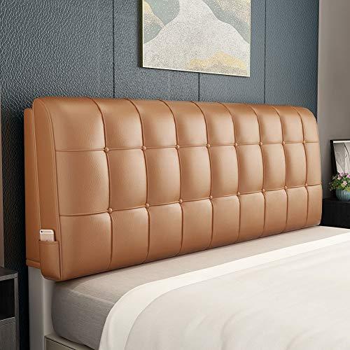 Home Pillow Cabecero tapizado La Moda De Cuero Artificial De La Cama Estilo Americano Respaldo Amortiguador Trasero Prop Arriba, Hay Necesidad De Limpiar (Color : Champagne B, Size : 200x6x60CM)