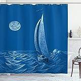 ABAKUHAUS Segelschiff Wasser Duschvorhang, Segelboot Schiff, Moderner Digitaldruck mit 12 Haken auf Stoff Wasser & Bakterie Resistent, 175 x 180 cm, Violett Blau
