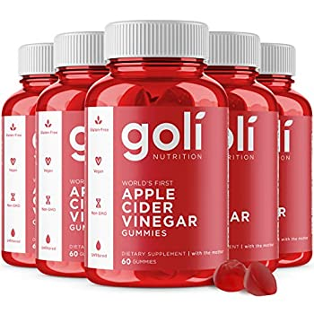Apple Cider Vinegar Gummy Vitamins by Goli Nutrition - Immunity Detox & Weight  5 Pack 300 Count with The Mother Gluten-Free Vegan Vitamin B9 B12 Beetroot Pomegranate