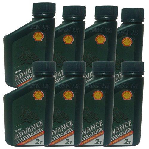 Bottiglia da 500 ml di Shell Advance 2 Stroke-Olio Semi-sintetico, 500 ml, Scooter falciatrici per motosega
