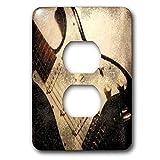 Solo dúplex receptáculo de pared, placa de pared de salida guitarra eléctrica vieja en abstracto 2 enchufe cubierta
