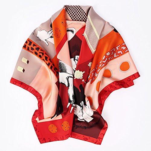 FLYRCX Ladies' en Soie Naturelle Haut de Gamme écharpe chale de Luxe Multi-usages Dame Cadeau 110cmx110cm