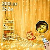 Cortina de Luces LED, 2x2M Luces de Cadena de Cortina, 200 LED Luces de Hadas, 8...