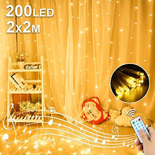 LED USB Lichtervorhang 2M x 2M, 200 LED USB Lichterkettenvorhang mit 8 Modi Fernbedien IP65 Wasserdicht LED Lichterkette für Schlafzimmer Hochzeit Partydekoration deko Weihnachten Innen und Außen