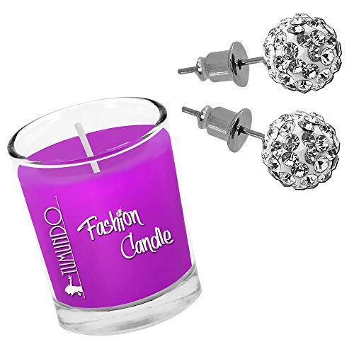 Tumundo Fashion Candle Kerze Mit Shamballa Ohrstecker Ohrringe Ohr Strass Kristall Kugel Disco Weiß Rosa Rot Schmuckkerze Duftkerze, Farbe:weiß - 8mm