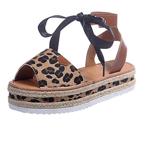 Luckycat Sandalias con Plataforma para Mujer Zapatillas Moda Estampado De Leopardo Sandalias Tacón escarpín Stiletto Sexy Mujer Tanga Hebilla Talón Tacón de Aguja Alto 11 CM