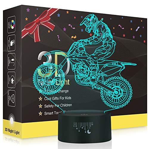 Motorrad 3D Lampe,Besrina LED Nachtlicht Illusion Lampen 7 Farben ändern Berührungssteuerung USB Optische schreibtischlampe, Nachttischlampen für Kinder Weihnachten Geburtstag Beste Geschenk Spielzeug