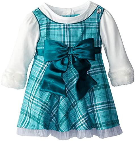 Youngland Baby Girls Sparkle Knit Trapeze Dress with Headband and Diaper Cover